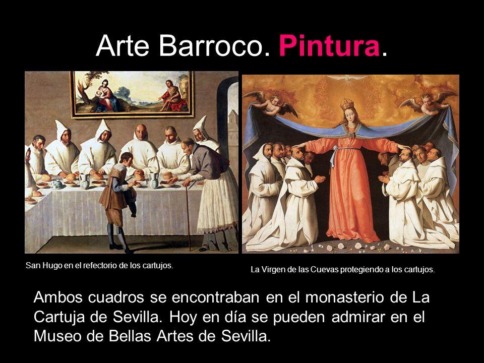 Arte Barroco. Pintura. San Hugo en el refectorio de los cartujos. La Virgen de las Cuevas protegiendo a los cartujos.