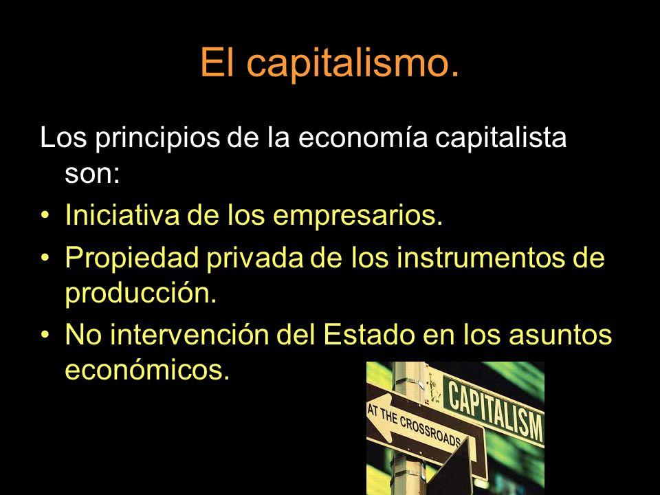 El capitalismo. Los principios de la economía capitalista son: