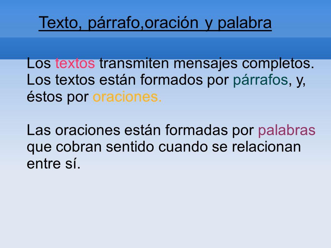 Texto, párrafo,oración y palabra