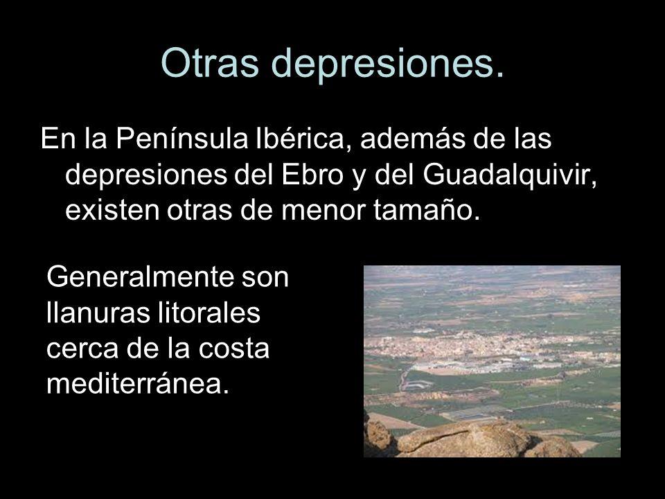 Otras depresiones.En la Península Ibérica, además de las depresiones del Ebro y del Guadalquivir, existen otras de menor tamaño.