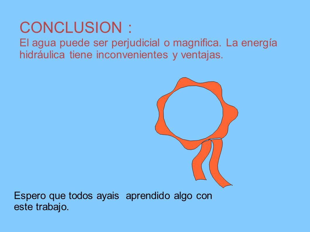 CONCLUSION : El agua puede ser perjudicial o magnifica. La energía hidráulica tiene inconvenientes y ventajas.