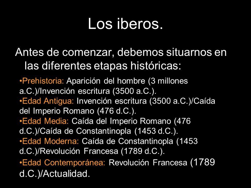 Los iberos. Antes de comenzar, debemos situarnos en las diferentes etapas históricas: