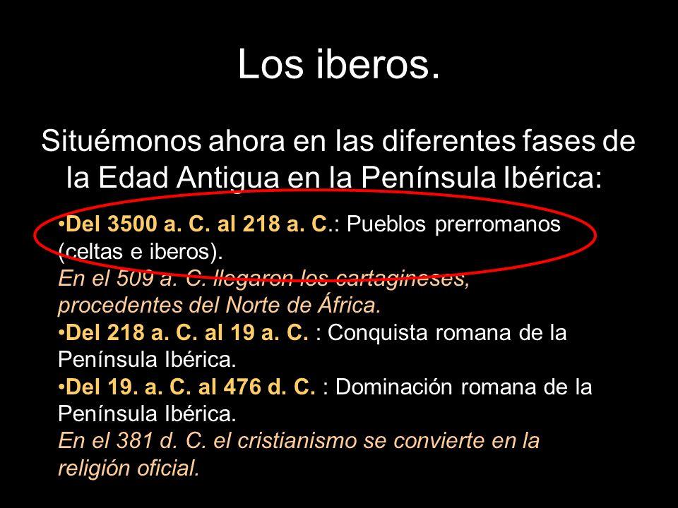 Los iberos. Situémonos ahora en las diferentes fases de la Edad Antigua en la Península Ibérica: