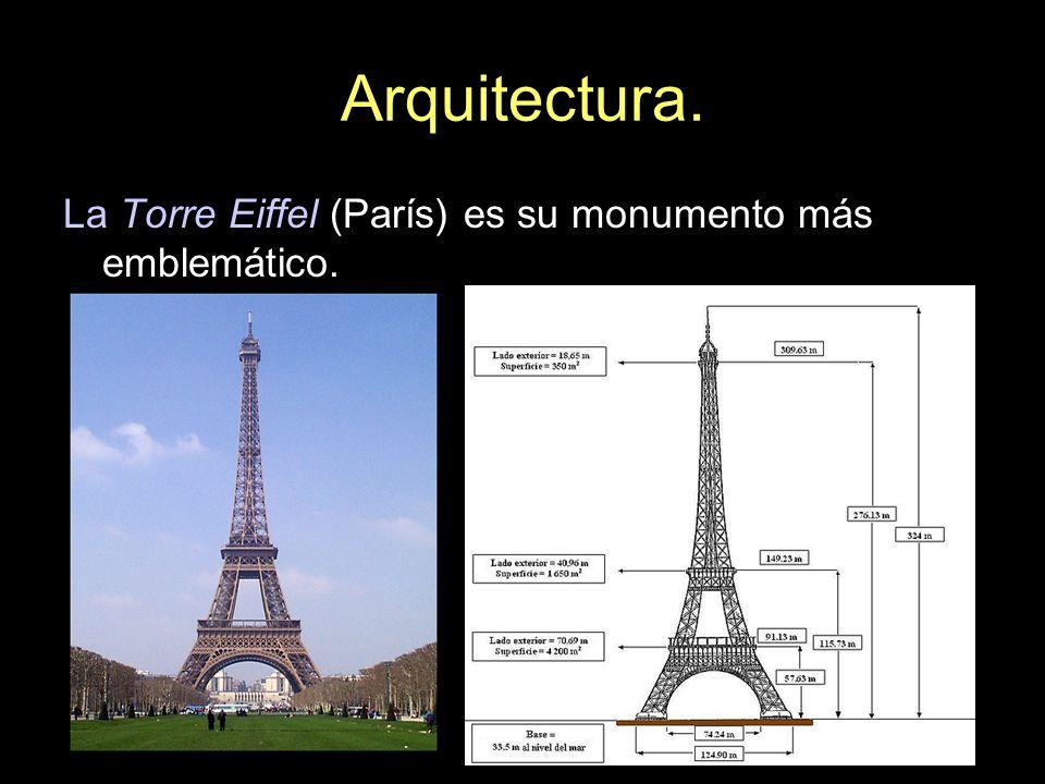 Arquitectura. La Torre Eiffel (París) es su monumento más emblemático.
