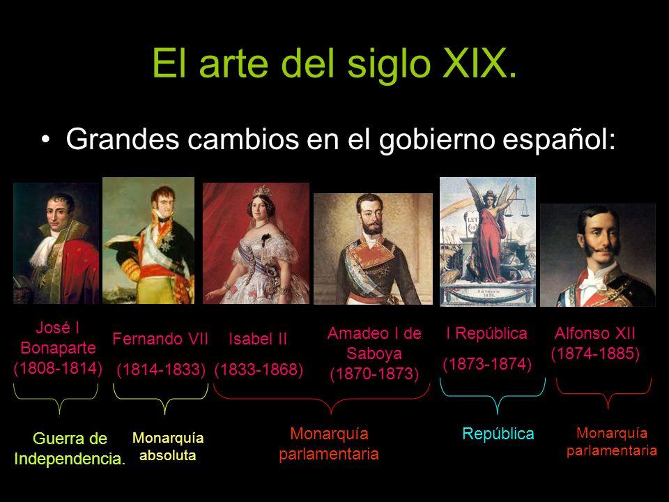 El arte del siglo XIX. Grandes cambios en el gobierno español: