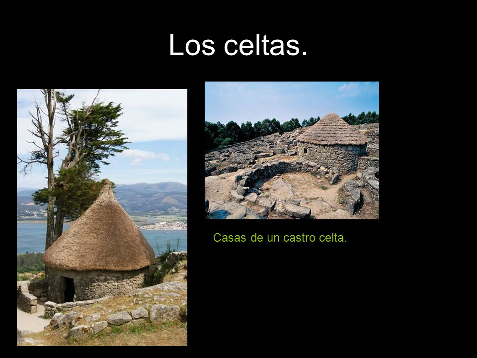Los celtas. Casas de un castro celta.