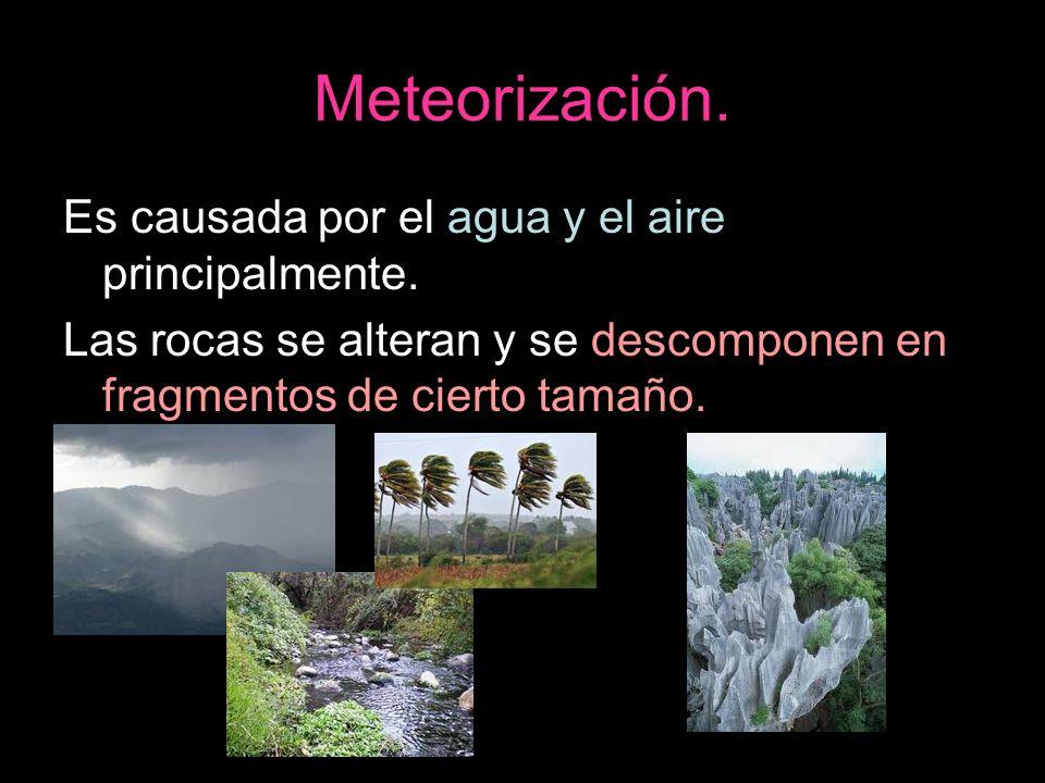 Meteorización. Es causada por el agua y el aire principalmente.