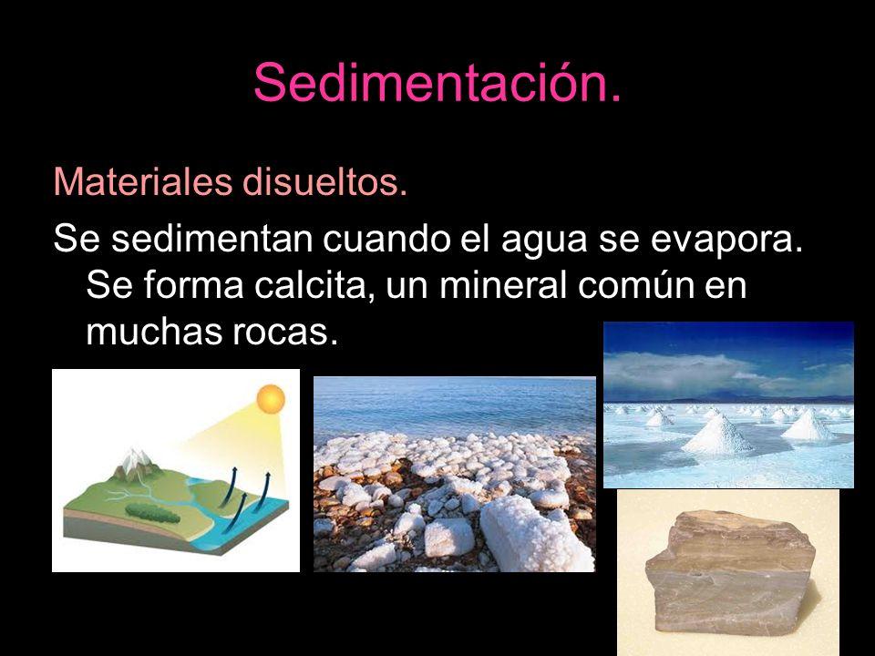 Sedimentación. Materiales disueltos.