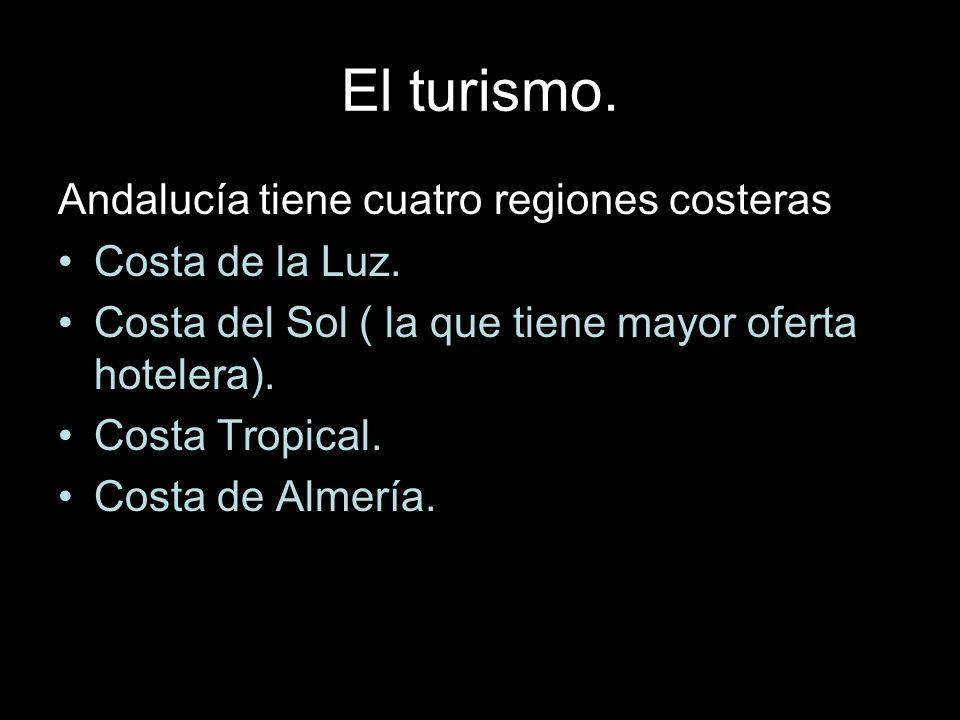 El turismo. Andalucía tiene cuatro regiones costeras: Costa de la Luz.