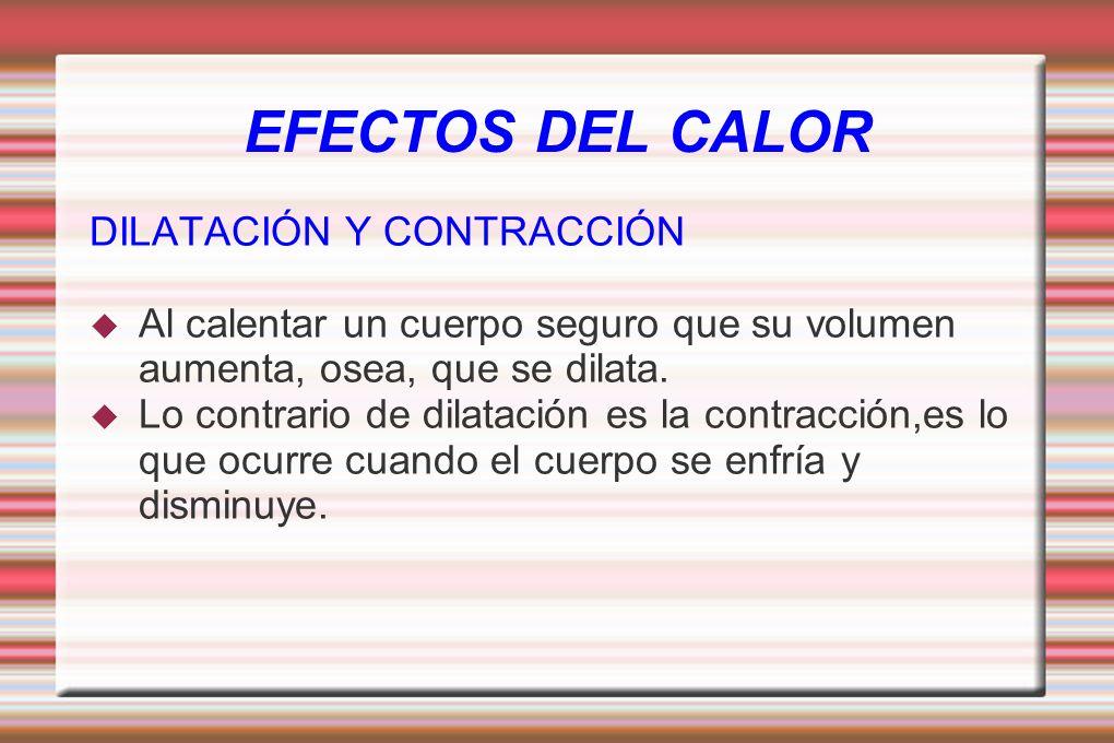 EFECTOS DEL CALOR DILATACIÓN Y CONTRACCIÓN