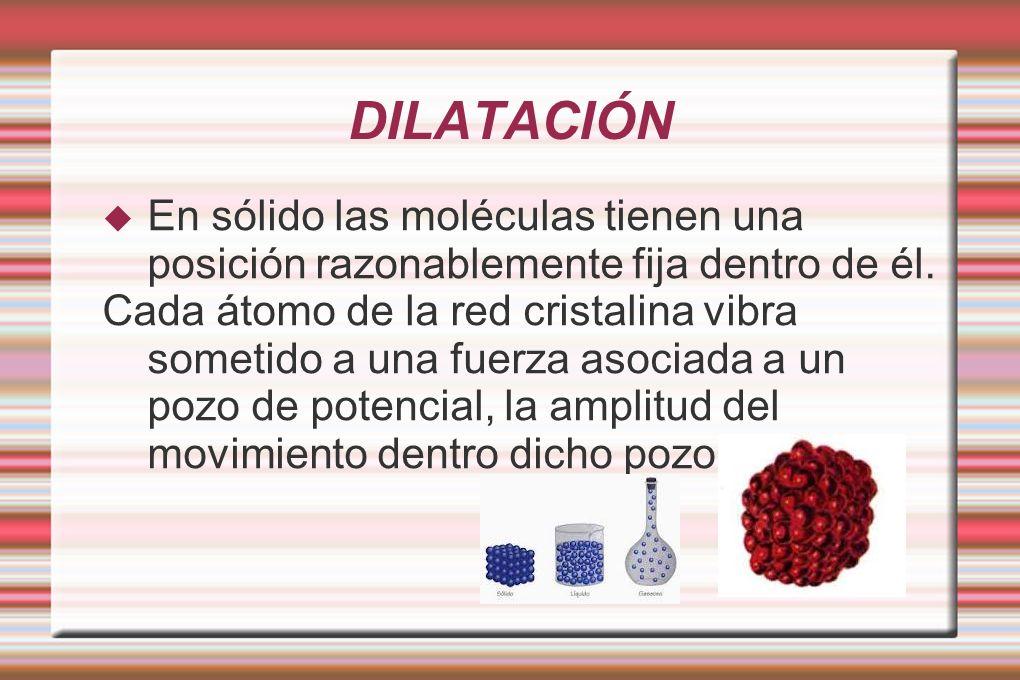 DILATACIÓN En sólido las moléculas tienen una posición razonablemente fija dentro de él.