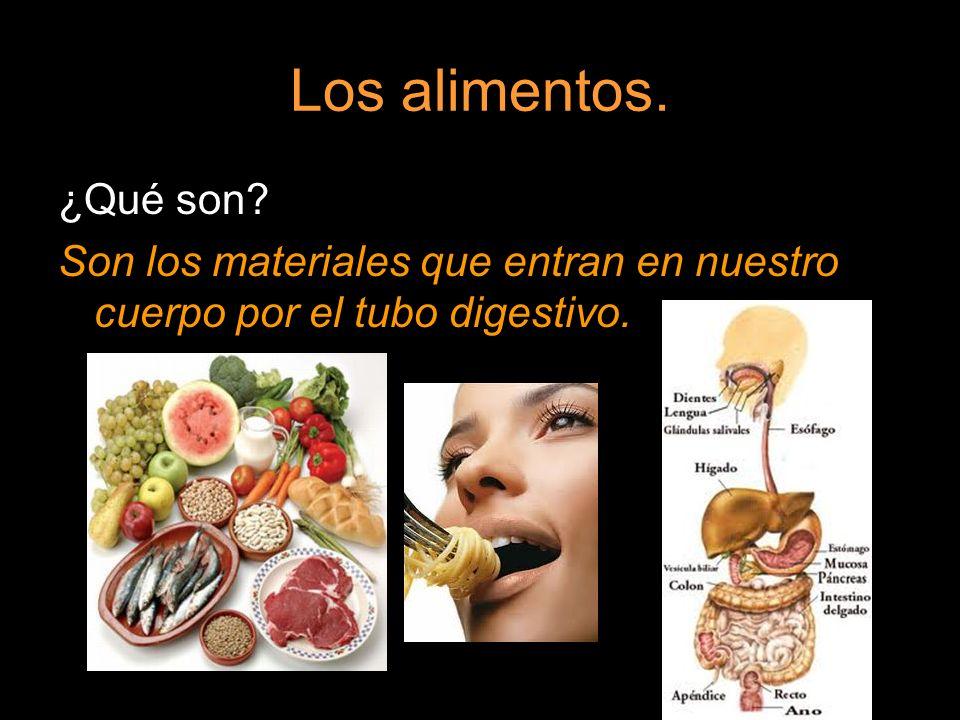 Los alimentos. ¿Qué son Son los materiales que entran en nuestro cuerpo por el tubo digestivo.