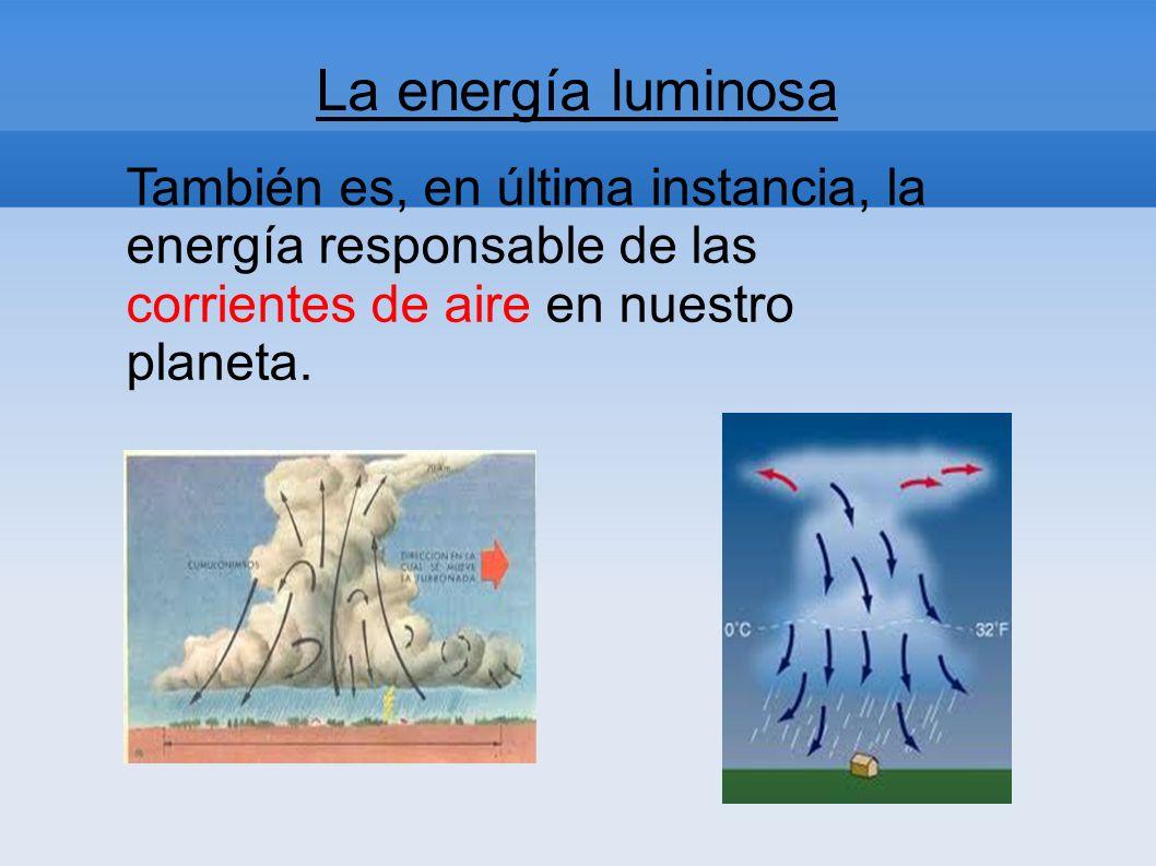 La energía luminosa También es, en última instancia, la energía responsable de las corrientes de aire en nuestro planeta.