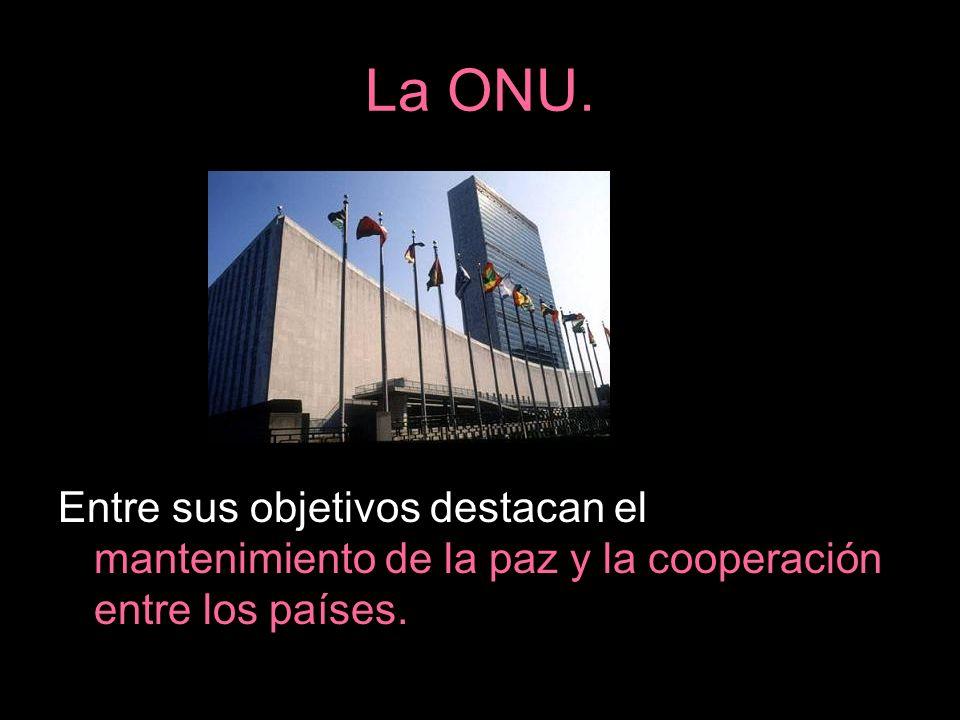 La ONU. Entre sus objetivos destacan el mantenimiento de la paz y la cooperación entre los países.