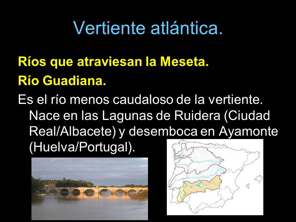 Vertiente atlántica. Ríos que atraviesan la Meseta. Río Guadiana.