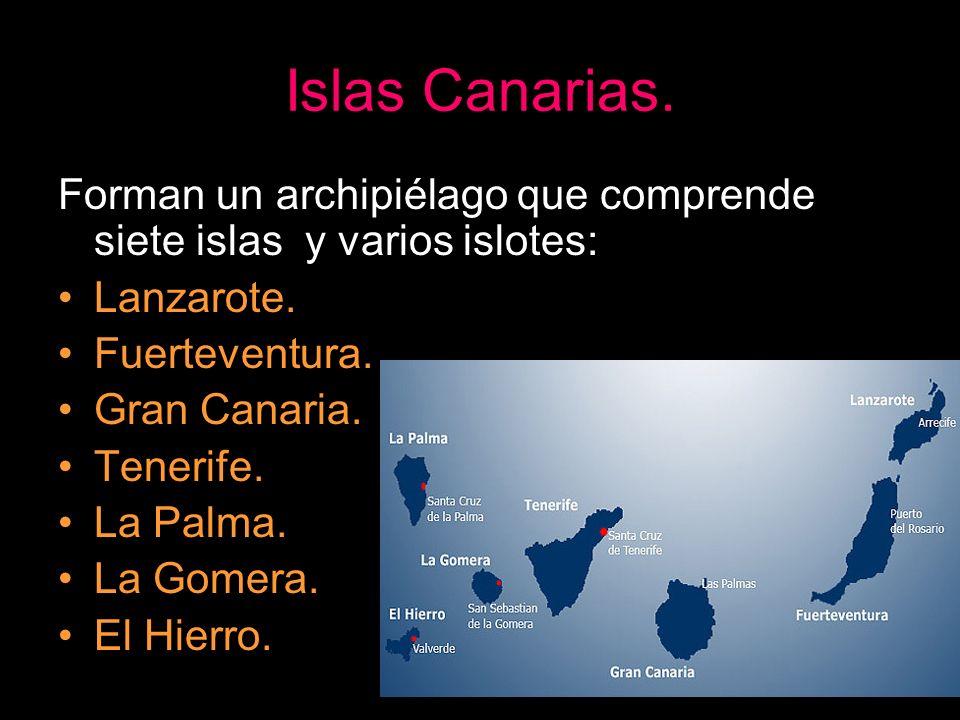 Islas Canarias. Forman un archipiélago que comprende siete islas y varios islotes: Lanzarote. Fuerteventura.