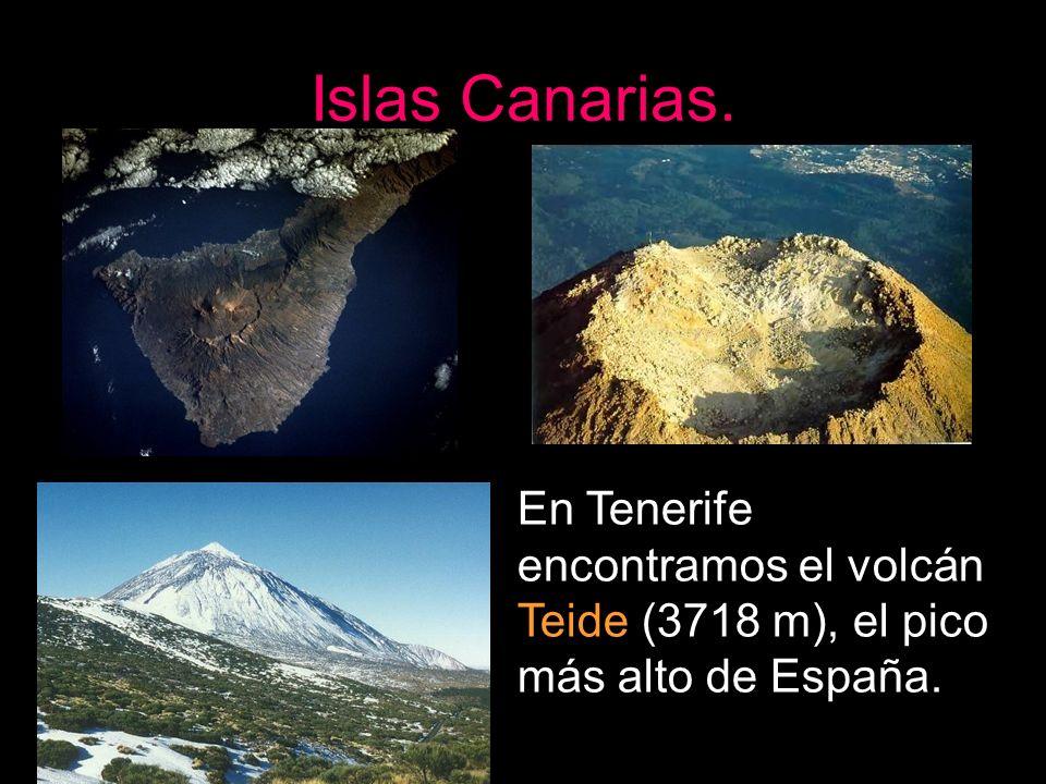Islas Canarias. En Tenerife encontramos el volcán Teide (3718 m), el pico más alto de España.