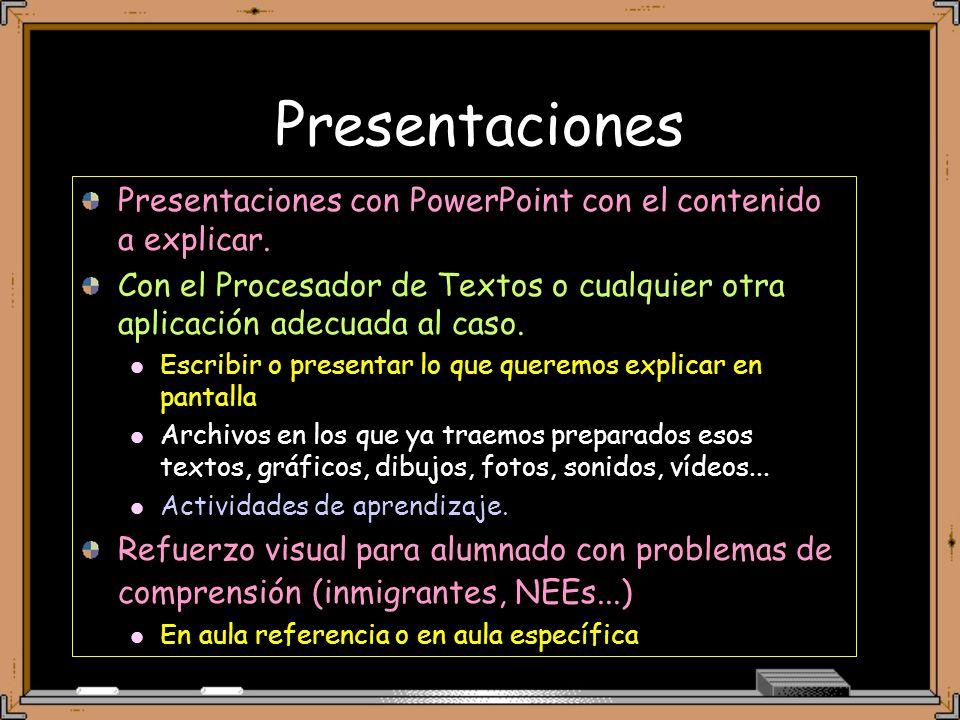 Presentaciones Presentaciones con PowerPoint con el contenido a explicar. Con el Procesador de Textos o cualquier otra aplicación adecuada al caso.
