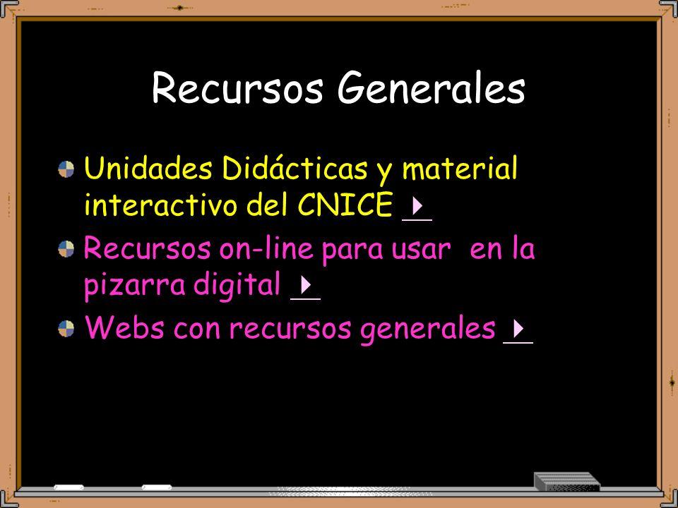 Recursos Generales Unidades Didácticas y material interactivo del CNICE  Recursos on-line para usar en la pizarra digital 