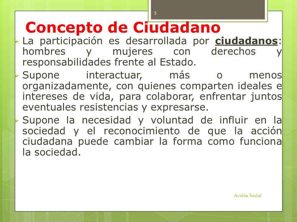 Concepto de Ciudadano La participación es desarrollada por ciudadanos: hombres y mujeres con derechos y responsabilidades frente al Estado.