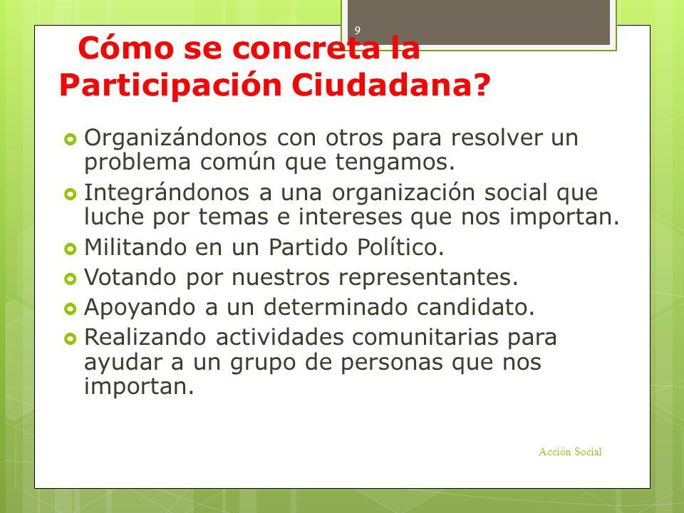 ¿Cómo se concreta la Participación Ciudadana