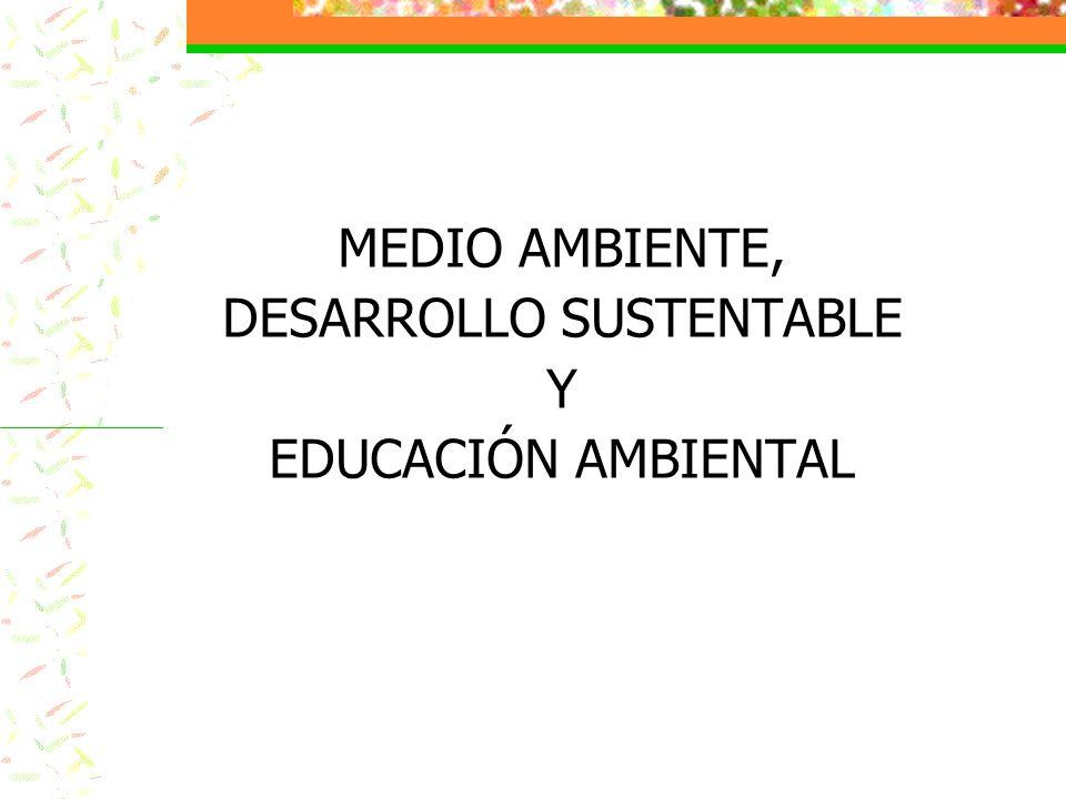 MEDIO AMBIENTE, DESARROLLO SUSTENTABLE Y EDUCACIÓN AMBIENTAL
