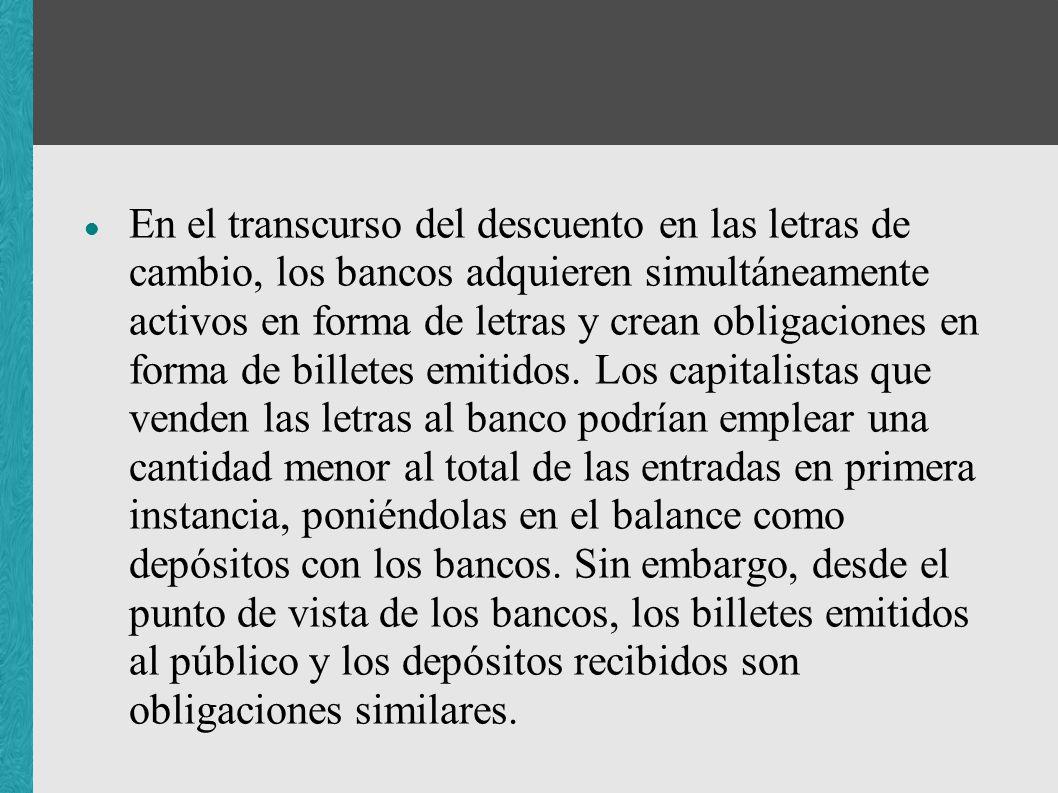En el transcurso del descuento en las letras de cambio, los bancos adquieren simultáneamente activos en forma de letras y crean obligaciones en forma de billetes emitidos.
