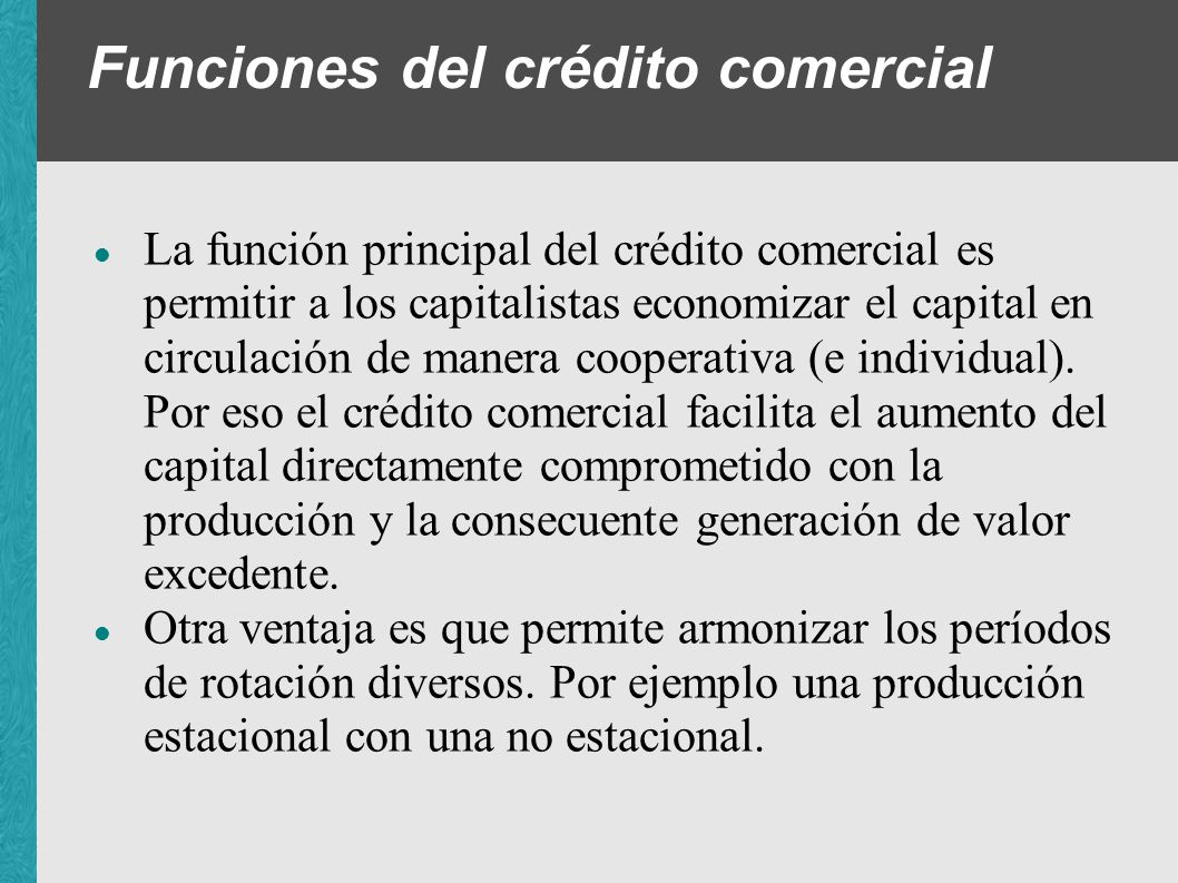 Funciones del crédito comercial