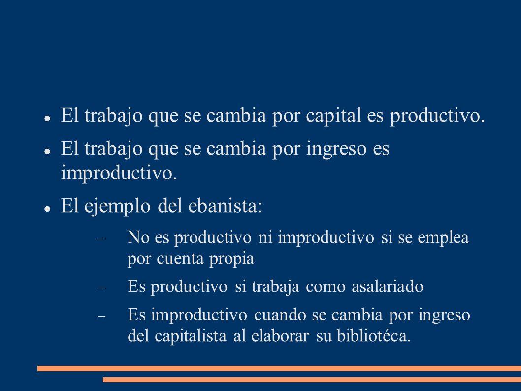 El trabajo que se cambia por capital es productivo.