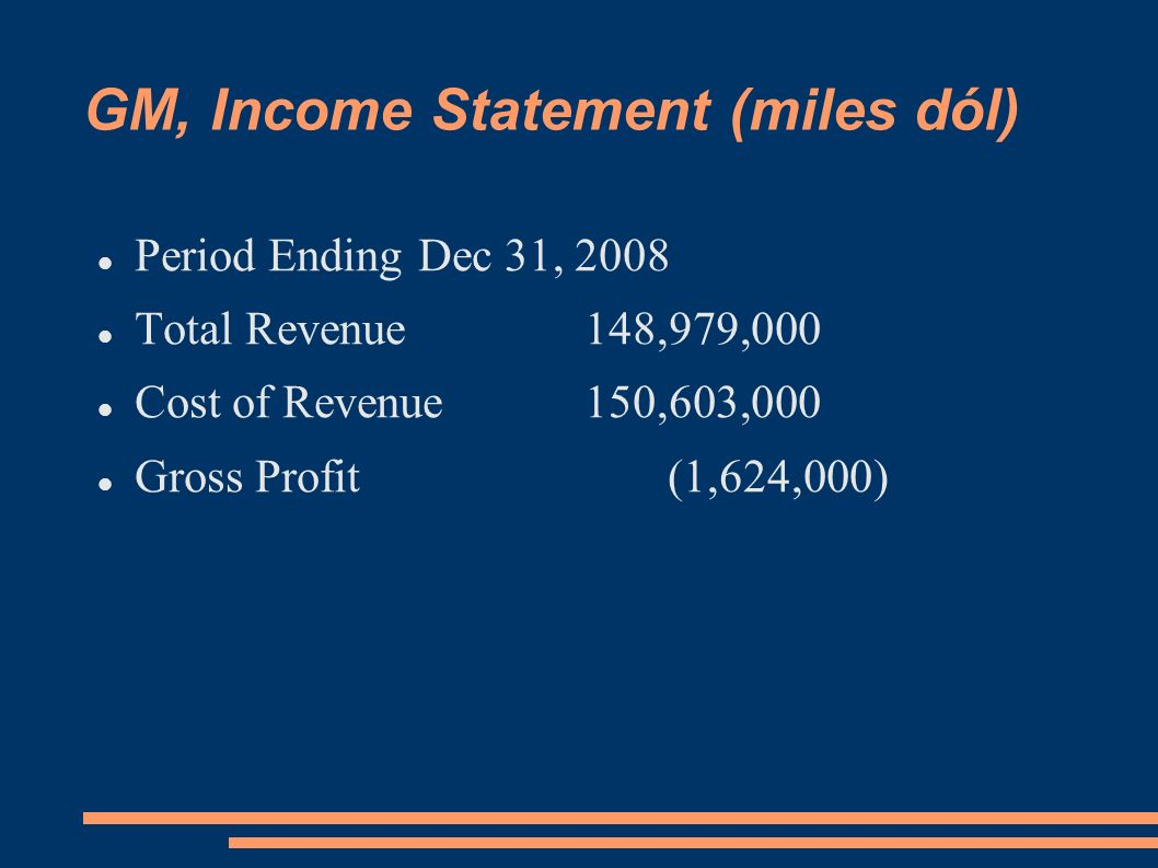 GM, Income Statement (miles dól)