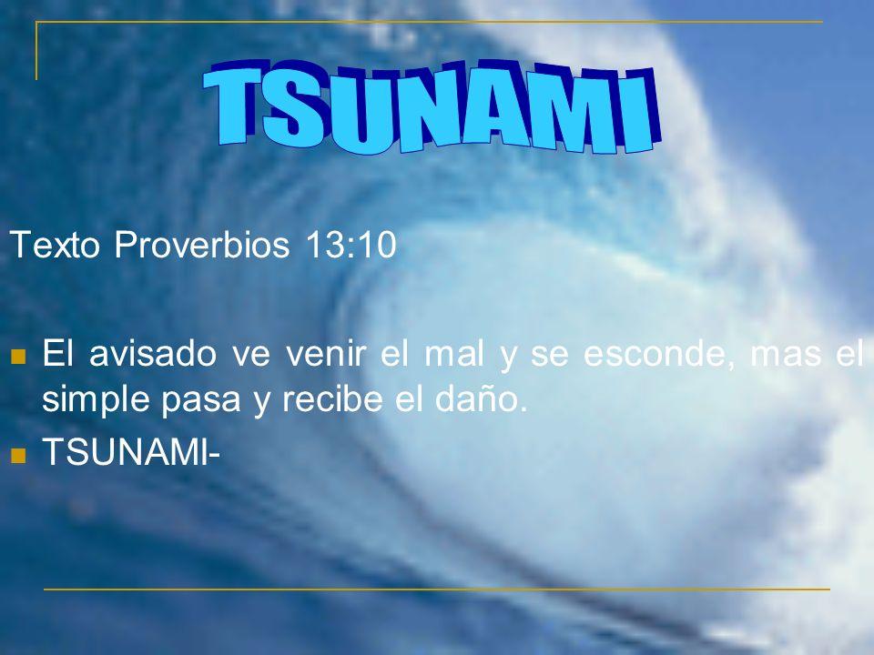 Texto Proverbios 13:10 El avisado ve venir el mal y se esconde, mas el simple pasa y recibe el daño.