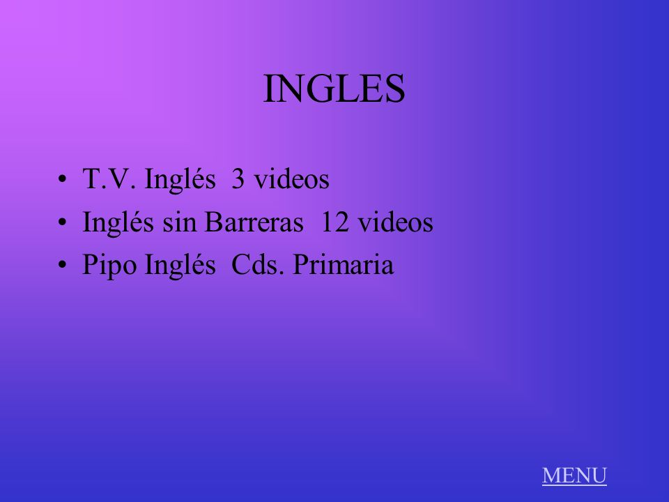 INGLES T.V. Inglés 3 videos Inglés sin Barreras 12 videos