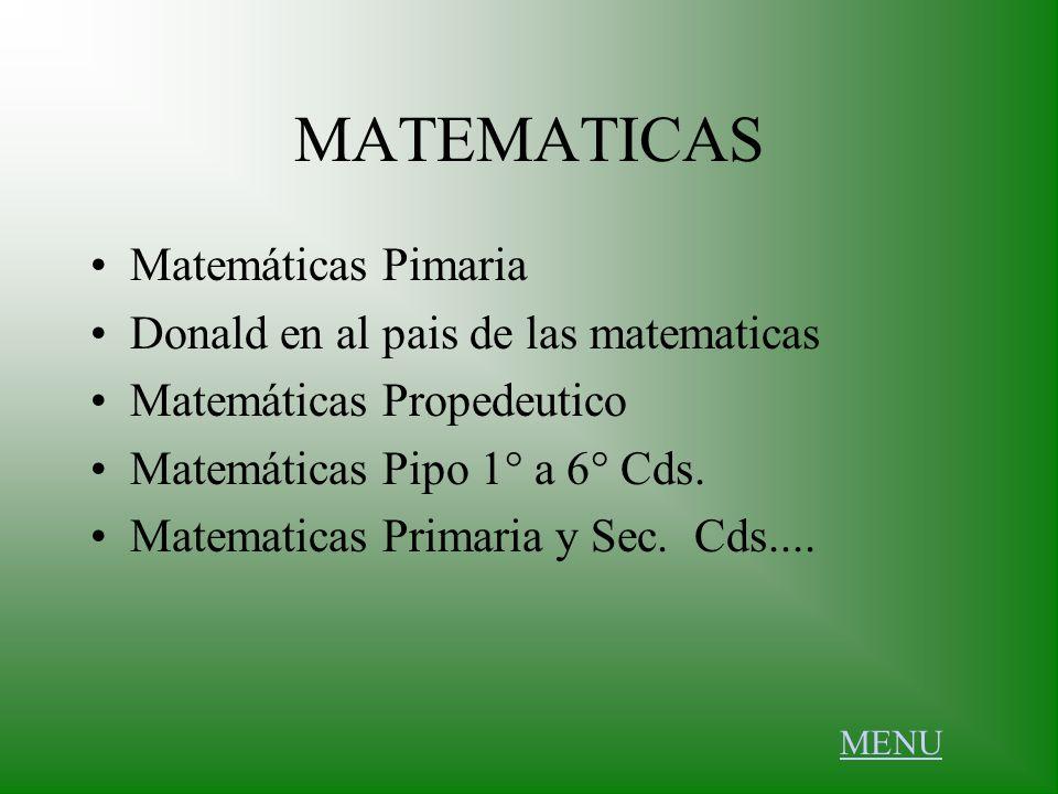 MATEMATICAS Matemáticas Pimaria Donald en al pais de las matematicas