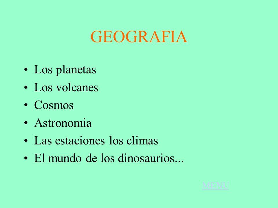 GEOGRAFIA Los planetas Los volcanes Cosmos Astronomia