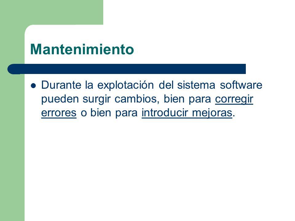 Mantenimiento Durante la explotación del sistema software pueden surgir cambios, bien para corregir errores o bien para introducir mejoras.