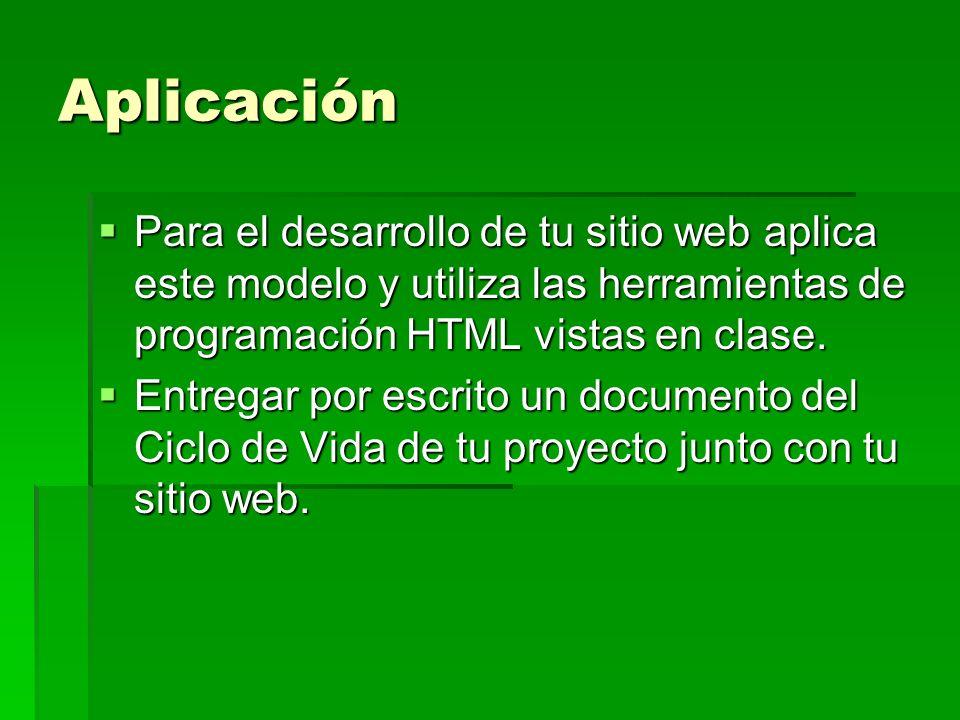 Aplicación Para el desarrollo de tu sitio web aplica este modelo y utiliza las herramientas de programación HTML vistas en clase.