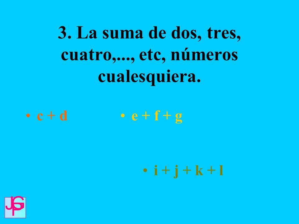 3. La suma de dos, tres, cuatro,..., etc, números cualesquiera.