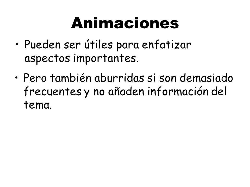 Animaciones Pueden ser útiles para enfatizar aspectos importantes.