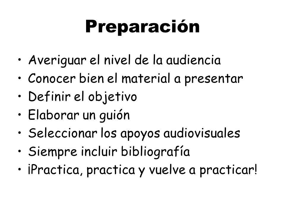 Preparación Averiguar el nivel de la audiencia