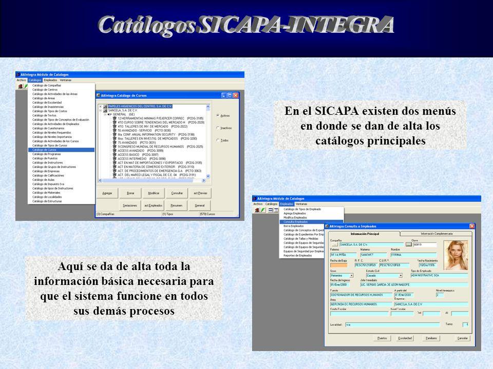 Catálogos SICAPA-INTEGRA