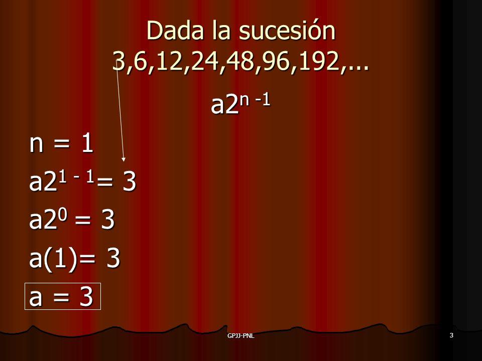 Dada la sucesión 3,6,12,24,48,96,192,... a2n -1 n = 1 a21 - 1= 3 a20 = 3 a(1)= 3 a = 3 GPJJ-PNL