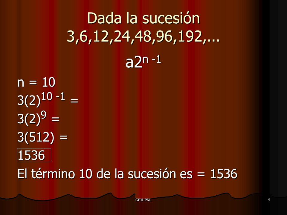 a2n -1 Dada la sucesión 3,6,12,24,48,96,192,... n = 10 3(2)10 -1 =