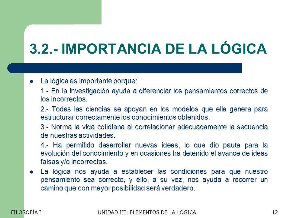 3.2.- IMPORTANCIA DE LA LÓGICA