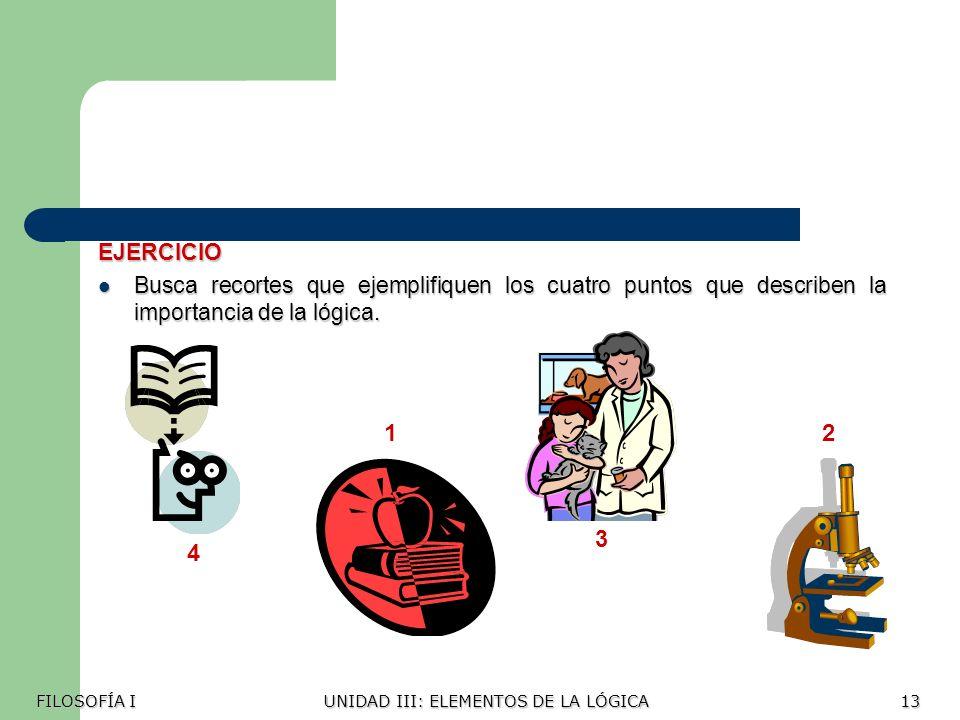 EJERCICIO Busca recortes que ejemplifiquen los cuatro puntos que describen la importancia de la lógica.