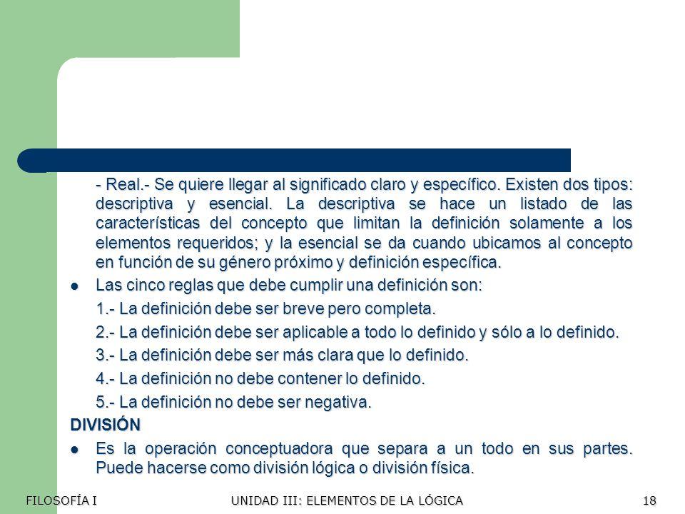 Las cinco reglas que debe cumplir una definición son: