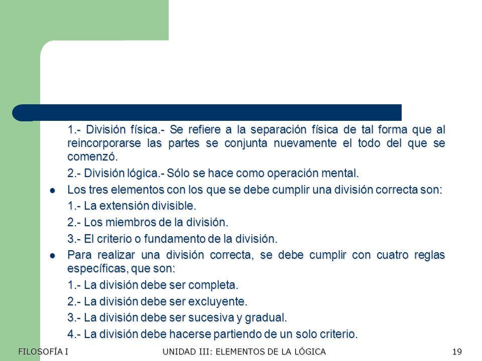 2.- División lógica.- Sólo se hace como operación mental.