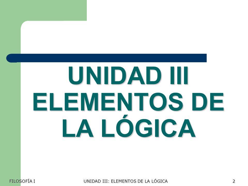 UNIDAD III ELEMENTOS DE LA LÓGICA