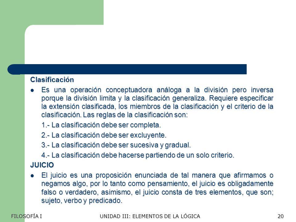 1.- La clasificación debe ser completa.