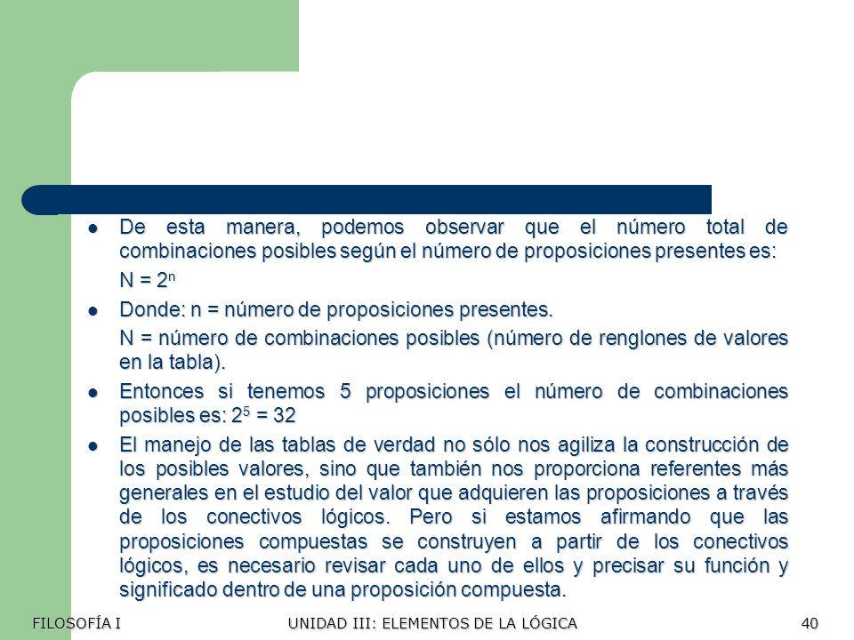 Donde: n = número de proposiciones presentes.