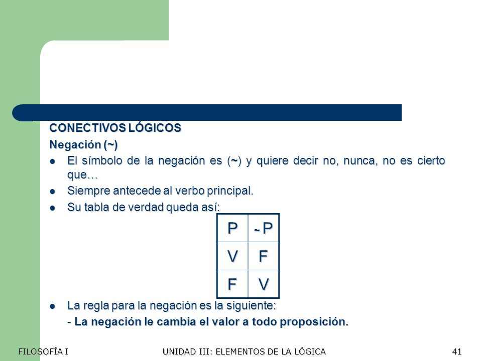 P V F CONECTIVOS LÓGICOS Negación (~)